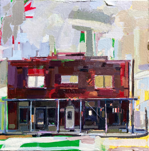 Stylized acrylic painting of The Village in downtown Marks, MS