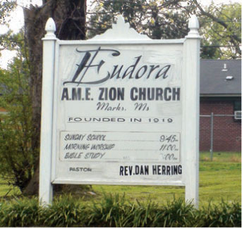 Photo of welcome sign at Eudora AME Zion Church, Marks, MS