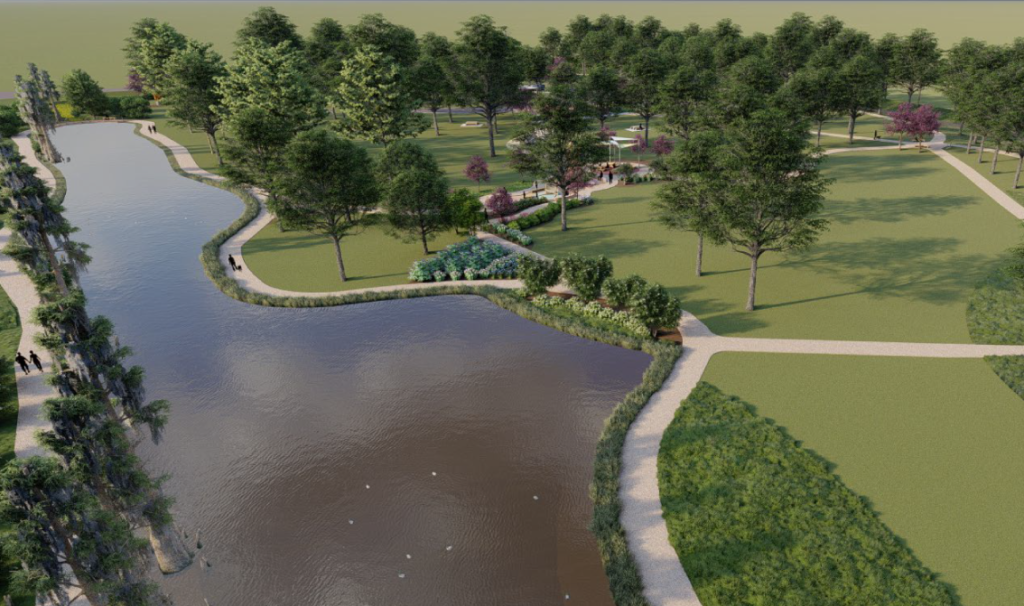 Rendering of proposed Mule Train Park, Marks, MS
